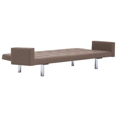 vidaXL Sofa Bed with Armrest Brown Fabric
