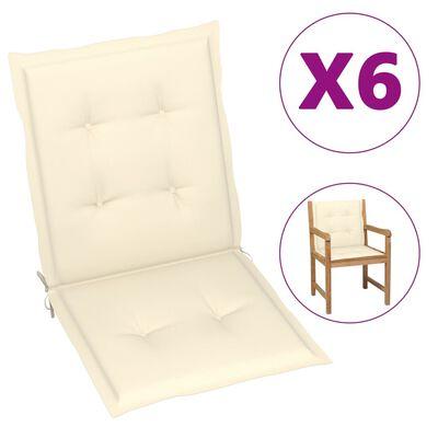 """vidaXL Garden Chair Cushions 6 pcs Cream 39.4""""x19.7""""x1.6"""""""