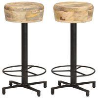 """vidaXL Bar Stools 2 pcs 26"""" Solid Mango Wood"""