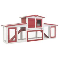 """vidaXL Outdoor Large Rabbit Hutch Red and White 80.3""""x17.7""""x33.5"""" Wood"""