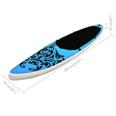 """vidaXL Inflatable Stand Up Paddleboard Set 120.1""""x29.9""""x5.9"""" Blue"""