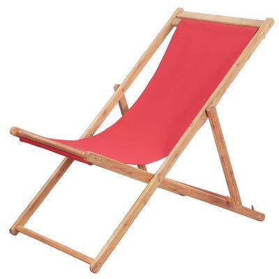 vidaXL Folding Beach Chair Fabric and Wooden Frame Red