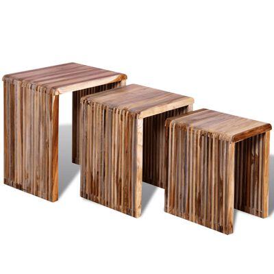 vidaXL Nesting Table Set 3 Pieces Reclaimed Teak