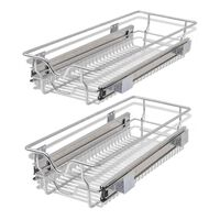 """vidaXL Pull-Out Wire Baskets 2 pcs Silver 11.8"""""""