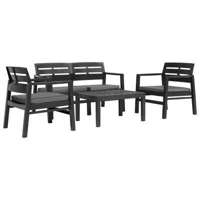 vidaXL 4 Piece Outdoor Lounge Set Plastic Anthracite