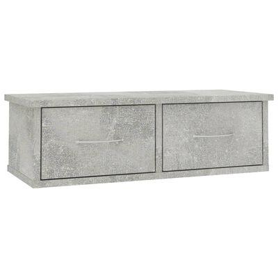 "vidaXL Wall-mounted Drawer Shelf Concrete Gray 23.6""x10.2""x7.2"" Chipboard"