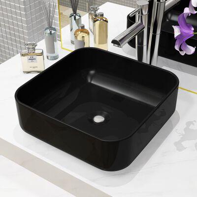 "vidaXL Basin Ceramic Square Black 15""x15""x5.3"""