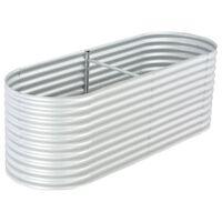 """vidaXL Garden Raised Bed 94.4""""x31.4""""x31.8"""" galvanized Steel Silver"""