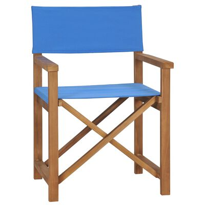 vidaXL Director's Chair Solid Teak Wood Blue
