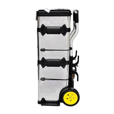 vidaXL 3-Part Rolling Tool Box with 2 Wheels