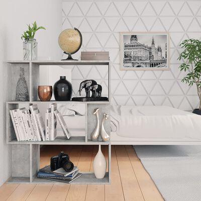 "vidaXL Book Cabinet/Room Divider Concrete Gray 31.5""x9.4""x37.8"" Chipboard"