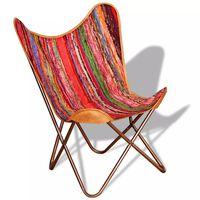 vidaXL Butterfly Chair Multicolour Chindi Fabric