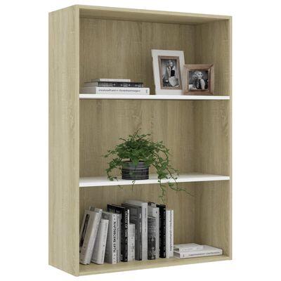 """vidaXL 3-Tier Book Cabinet White and Sonoma Oak 31.5""""x11.8""""x44.8"""" Chipboard"""