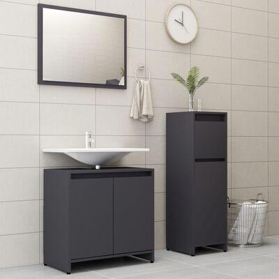 vidaXL 3 Piece Bathroom Furniture Set Gray Chipboard