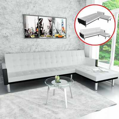 vidaXL L-shaped Sofa Bed Artificial Leather White and Black