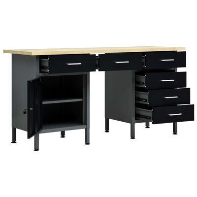 "vidaXL Workbench Black 63""x23.6""x33.5"" Steel"