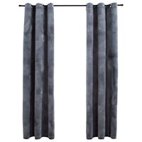"vidaXL Blackout Curtains with Rings 2 pcs Anthracite 37""x95"" Velvet"