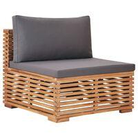 vidaXL Garden Middle Sofa with Gray Cushion Solid Teak Wood