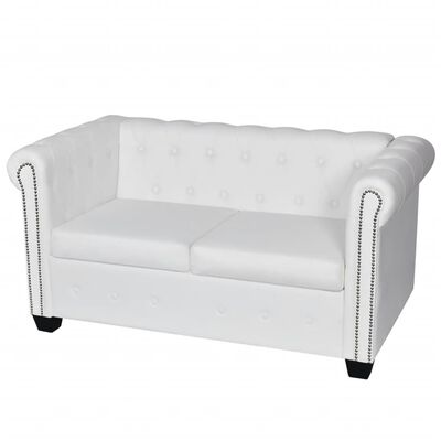 vidaXL Chesterfield 2-Seater Artificial Leather White