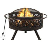 "vidaXL Rustic Fire Pit with Poker 29.9 XXL Steel"""