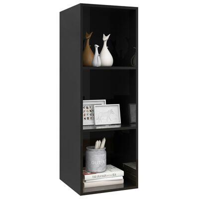 "vidaXL Wall-mounted TV Cabinet High Gloss Black 14.6""x14.6""x42.1"" Chipboard"