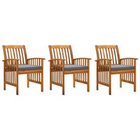 vidaXL Garden Dining Chairs 3 pcs with Cushions Solid Acacia Wood