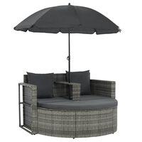 vidaXL 2 Seater Garden Sofa with Cushions and Parasol Gray Poly Rattan