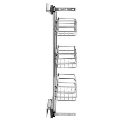 "vidaXL 3-Tier Pull-out Kitchen Wire Basket Silver 18.5""x4.3""x22"""