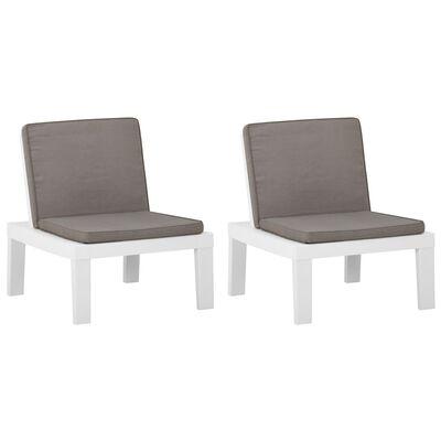vidaXL Garden Lounge Chairs with Cushions 2 pcs Plastic White