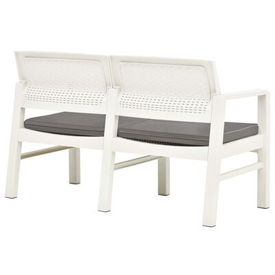 """vidaXL 2-Seater Garden Bench with Cushions 47.2"""" Plastic White"""
