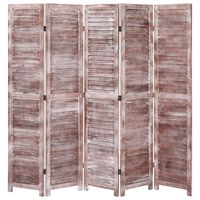"vidaXL 5-Panel Room Divider Brown 68.9""x64.7"" Wood"