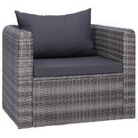 vidaXL Garden Chair with Cushion and Pillow Poly Rattan Gray