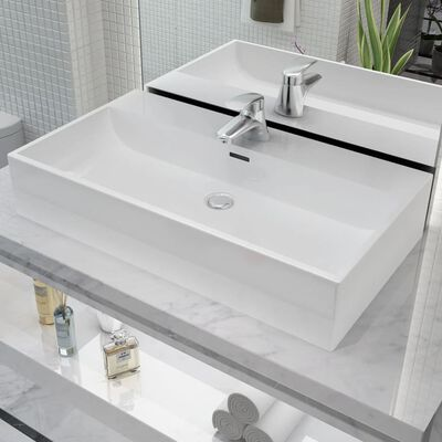 "vidaXL Basin with Faucet Hole Ceramic White 29.9""x16.7""x5.7"""