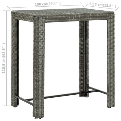 "vidaXL Garden Bar Table Gray 39.4""x23.8""x43.5"" Poly Rattan"