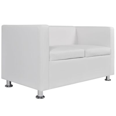 vidaXL Sofa Set 2-Seater and 3-Seater White Faux Leather