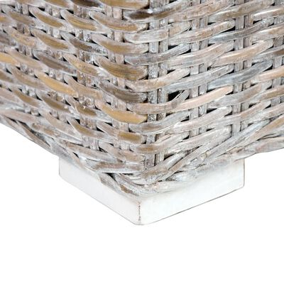 "vidaXL Storage Box 47.2"" White Kubu Rattan and Solid Mango Wood"