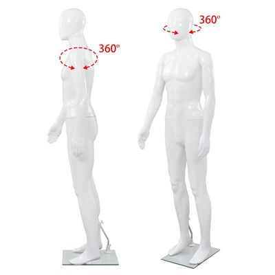 """vidaXL Full Body Male Mannequin with Glass Base Glossy White 72.8"""""""