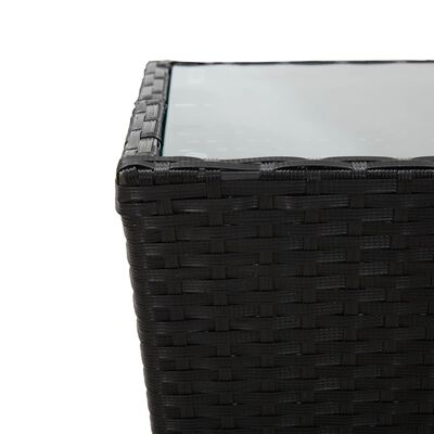 "vidaXL Tea Table Black 16.3""x16.3""x16.9"" Poly Rattan and Tempered Glass"