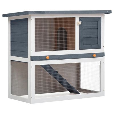 vidaXL Outdoor Rabbit Hutch 1 Door Gray Wood