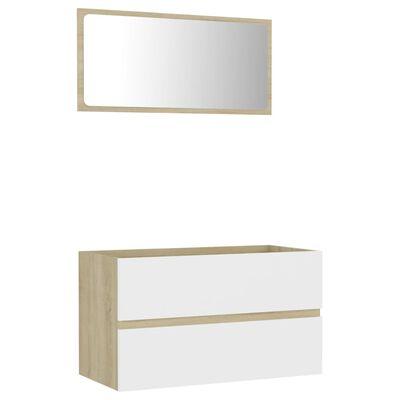 vidaXL 2 Piece Bathroom Furniture Set White and Sonoma Oak Chipboard