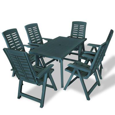 vidaXL 7 Piece Outdoor Dining Set Plastic Green