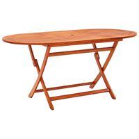 "vidaXL Folding Garden Table 63""x33.5""x29.5"" Solid Eucalyptus Wood"