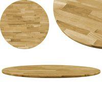 """vidaXL Table Top Solid Oak Wood Round 0.9"""" 23.6"""""""