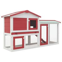"""vidaXL Outdoor Large Rabbit Hutch Red and White 57.1""""x17.7""""x33.5"""" Wood"""