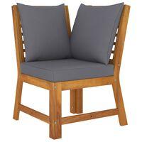 vidaXL Sectional Corner Sofa with Dark Gray Cushion Solid Acacia Wood
