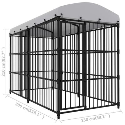 """vidaXL Outdoor Dog Kennel with Roof 118.1""""x59.1""""x82.7"""""""