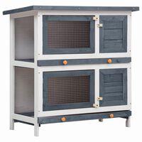 vidaXL Outdoor Rabbit Hutch 4 Doors Gray Wood