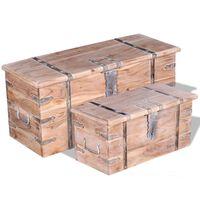 vidaXL 2 Piece Storage Chest Set Acacia Wood