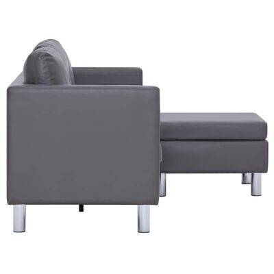 vidaXL 3-Seater Sofa with Cushions Gray Faux Leather