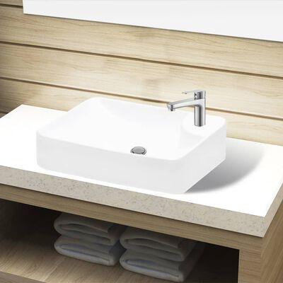 vidaXL Ceramic Bathroom Sink Basin with Faucet Hole White